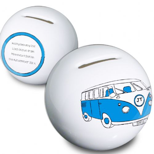 Personalised Blue Camper Van Money Box